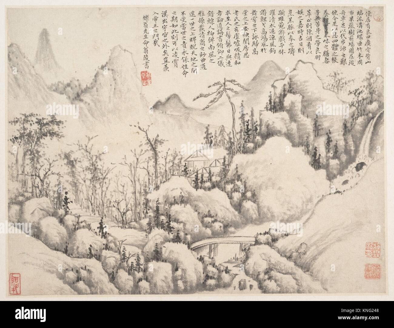 清 æ-½éœ- 山莊åœ- 冊頁/Mountain Retreat. Artist: - Stock Image