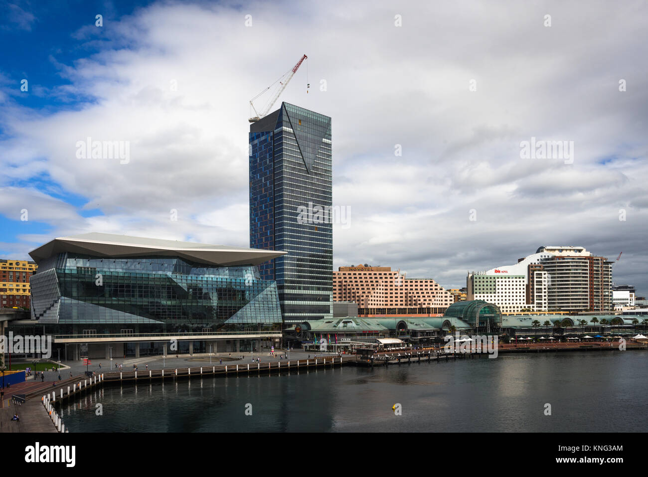 International Convention Centre Sydney ICC, Sofitel, Novotel, Ibis hotels and Harbourside shopping & restaurant - Stock Image