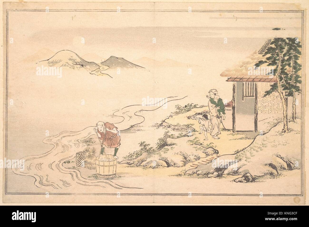 狂月坊/The Full Moon at the Time of the Imo Harvest. Artist: Kitagawa Utamaro (Japanese, 1753? - Stock Image