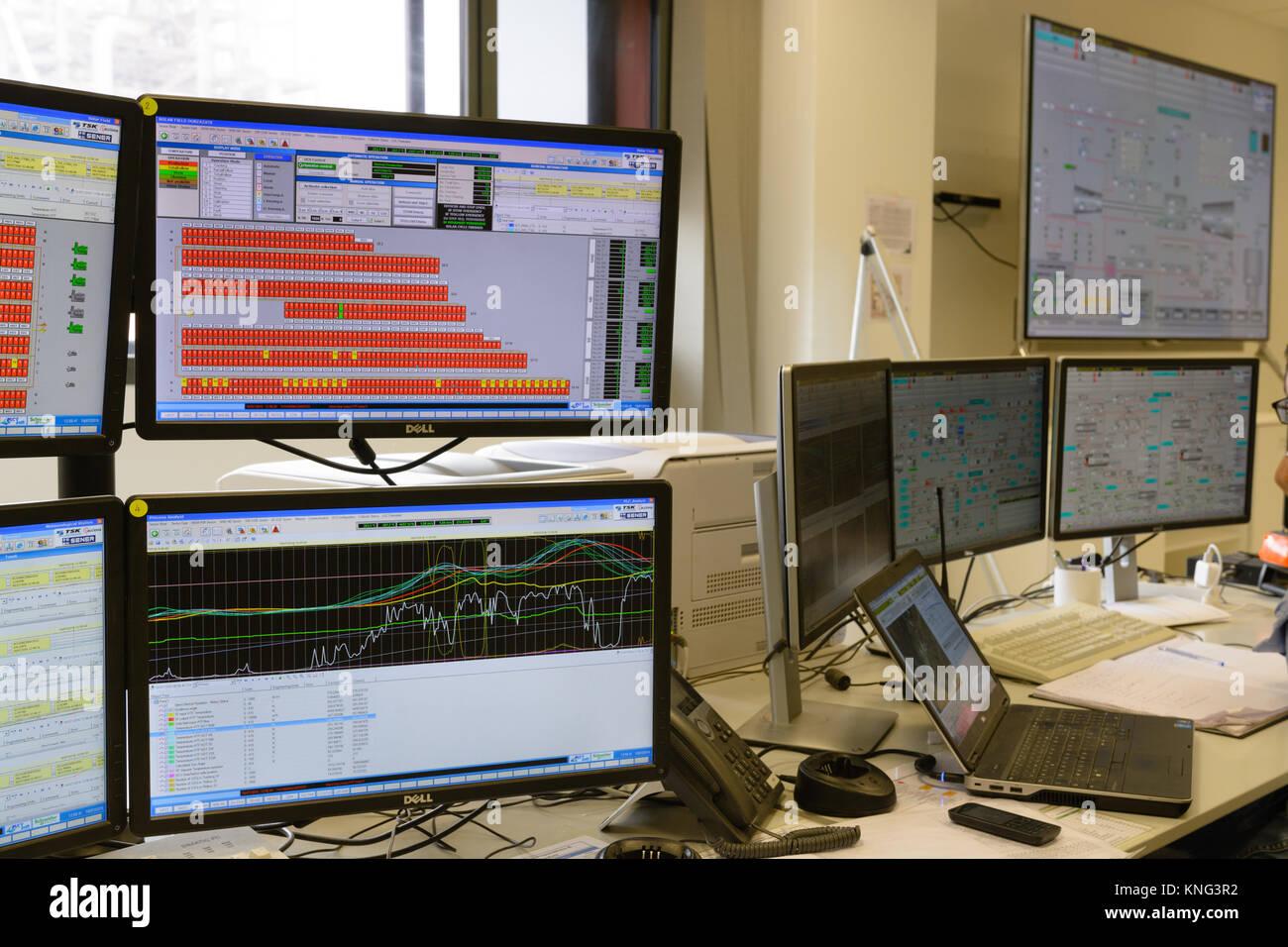 Monitor room in Noor Ouarzazate - Stock Image