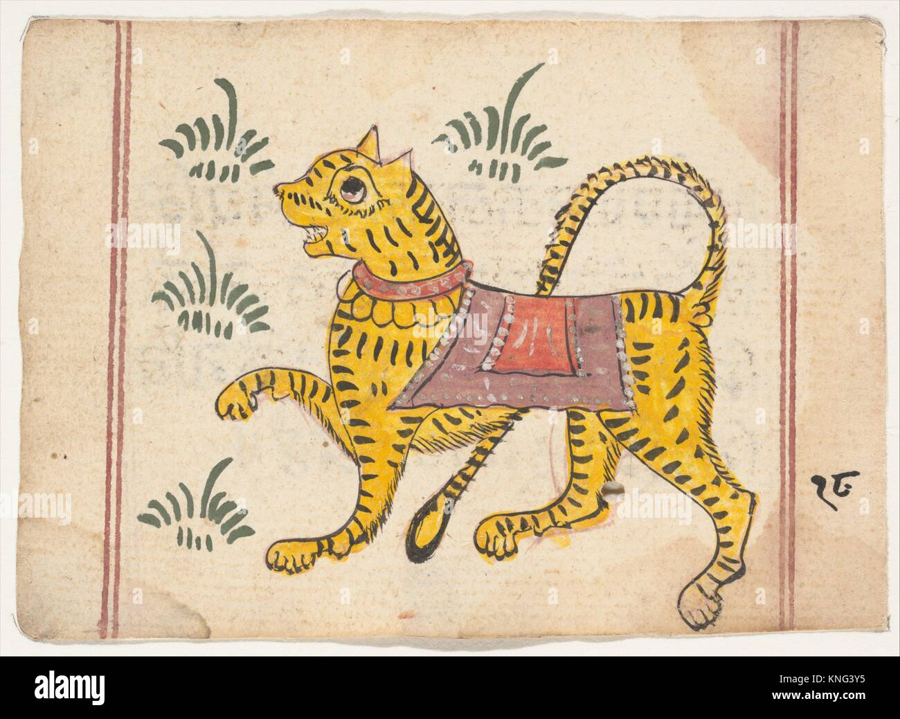 Page from a Book of Omens. Date: ca. 1800; Culture: India; Medium: Ink and opaque watercolor on paper; Dimensions: - Stock Image