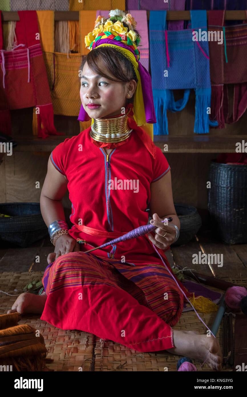 Padaung woman, Inle Lake, Nyaung Shwe, Myanmar, Asia Stock Photo
