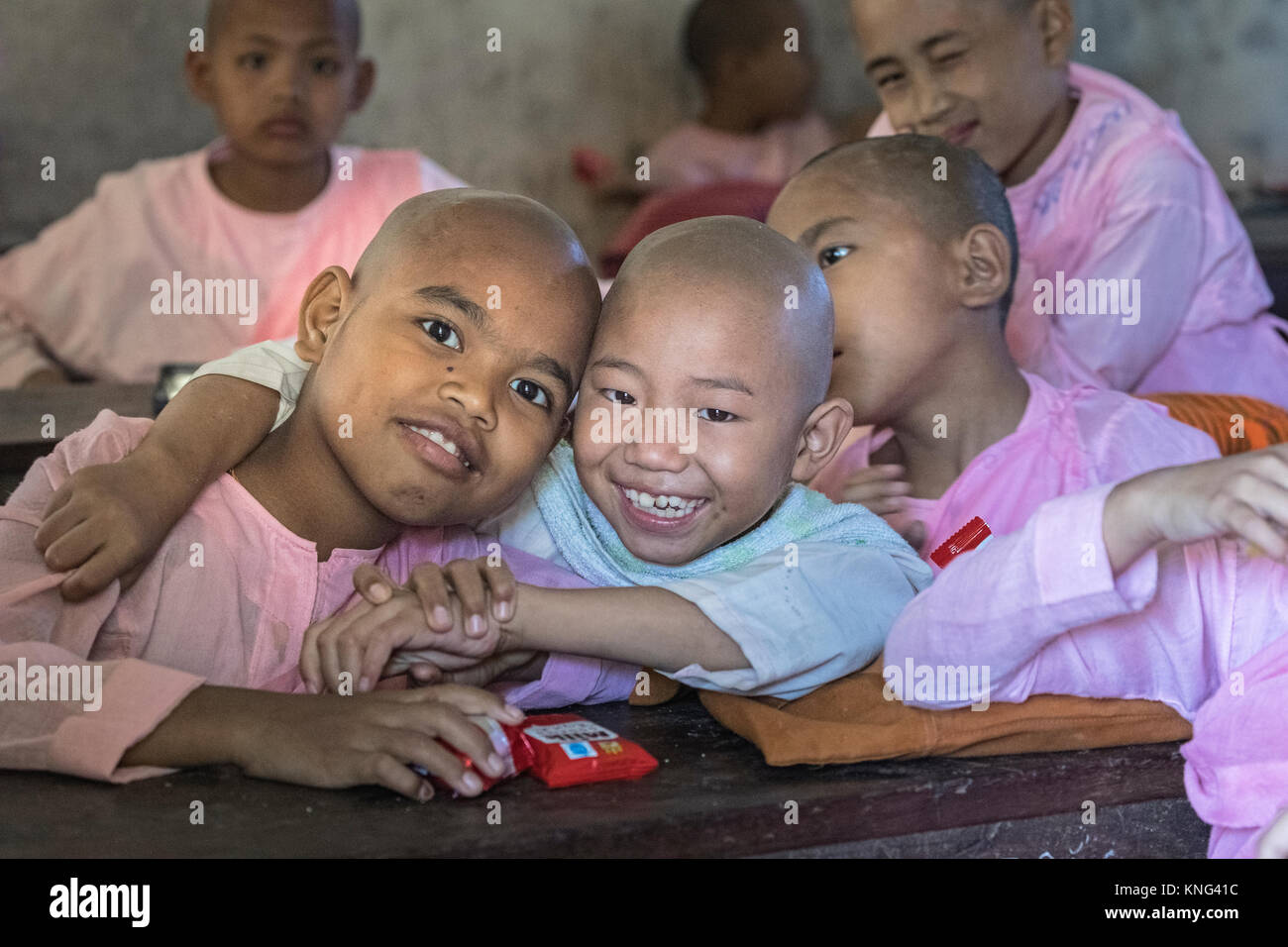 monk school, Sagaing, Mandalay, Myanmar, Asia - Stock Image