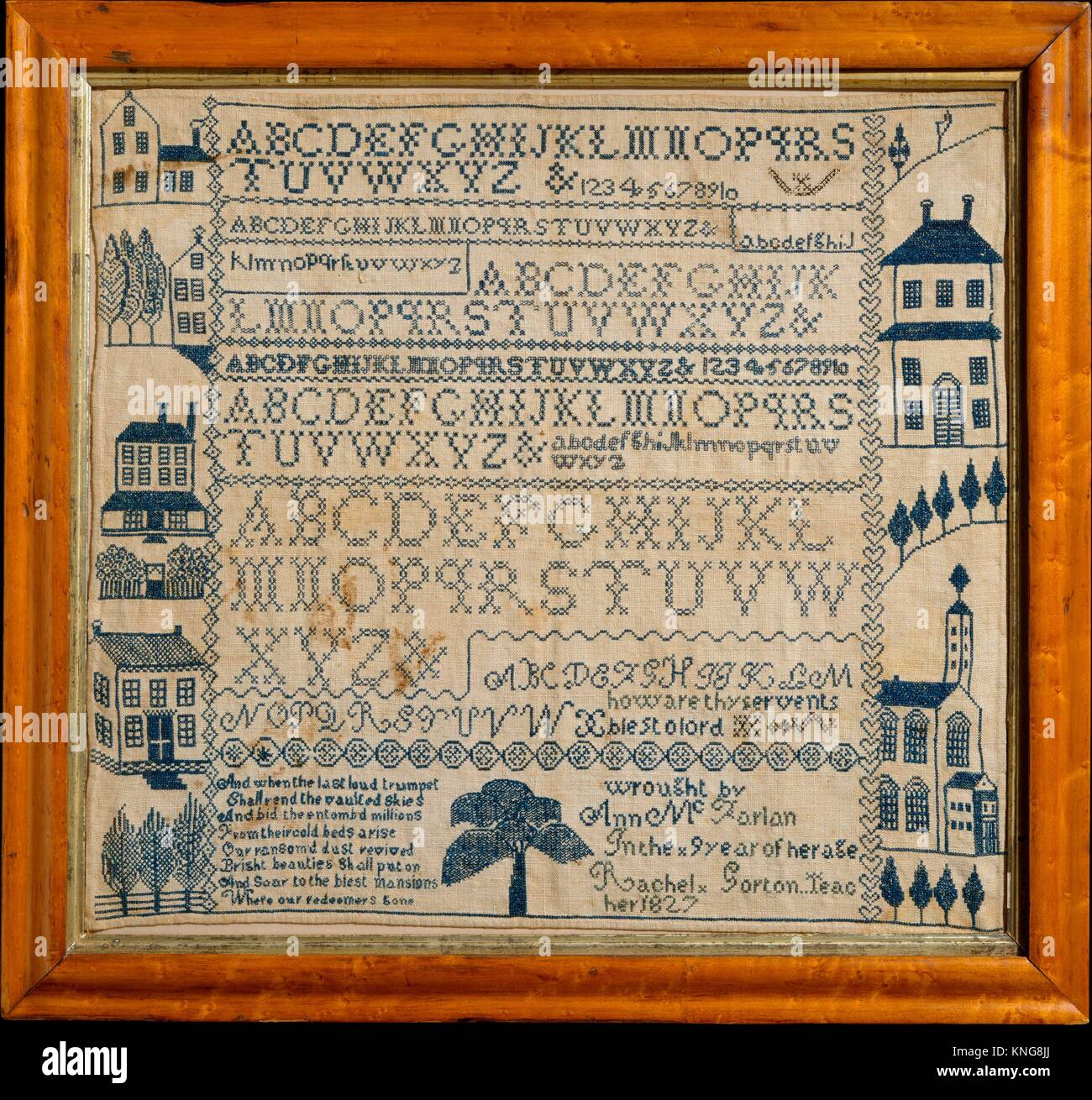 Sampler with apocalyptic verse. Maker: Ann McFarlan (1817-1835); Date: 1827; Geography: Made in Johnstown, New York, - Stock Image