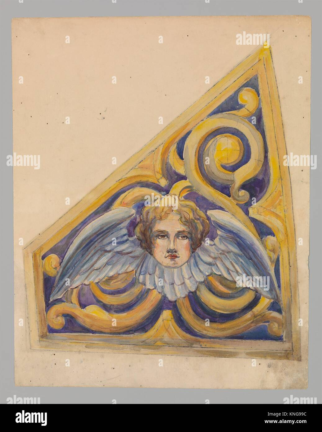 Design for trapezoidal panel. Artist: Louis Comfort Tiffany (American, New York 1848-1933 New York); Maker: Possibly - Stock Image