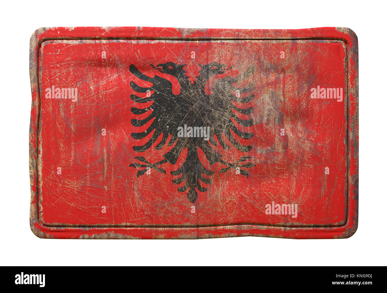 3d rendering of an Albania flag over a rusty metallic plate. Isolated on white background. - Stock Image