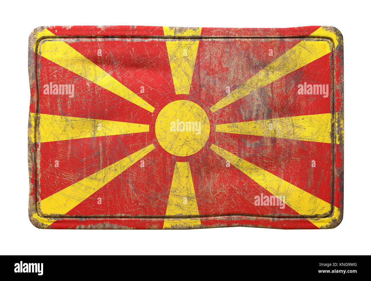 3d rendering of a Macedonia flag over a rusty metallic plate. Isolated on white background. - Stock Image
