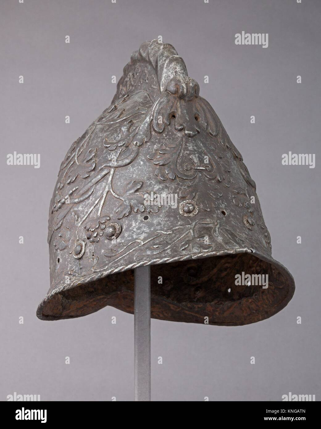 Burgonet. Date: ca. 1550; Geography: Milan; Culture: Italian, Milan; Medium: Steel, gold; Dimensions: H. 10 1/8 - Stock Image