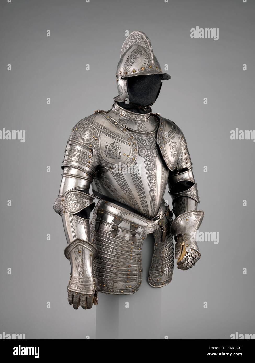 Infantry Armor. Armorer: Upper plate of the gorget, skirt lames, and cheek pieces made by Daniel Tachaux (French, - Stock Image