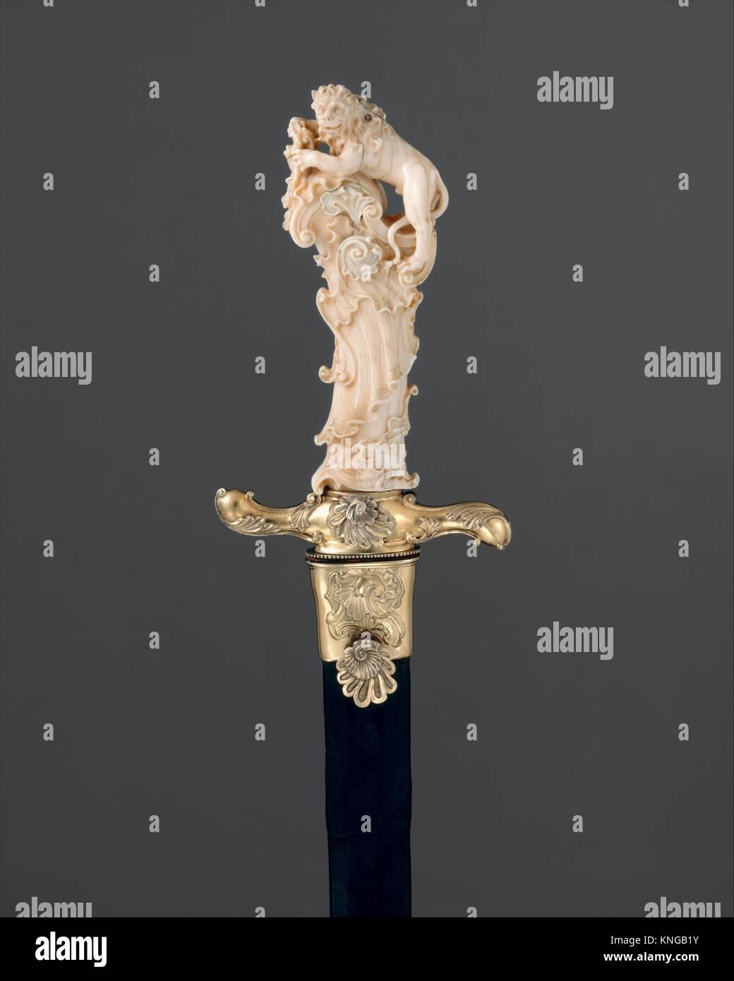 Hunting Sword with Scabbard. Sword maker: Grip attributed to Joseph Deutschmann (German, Imst 1717-1787 Passau); Stock Photo