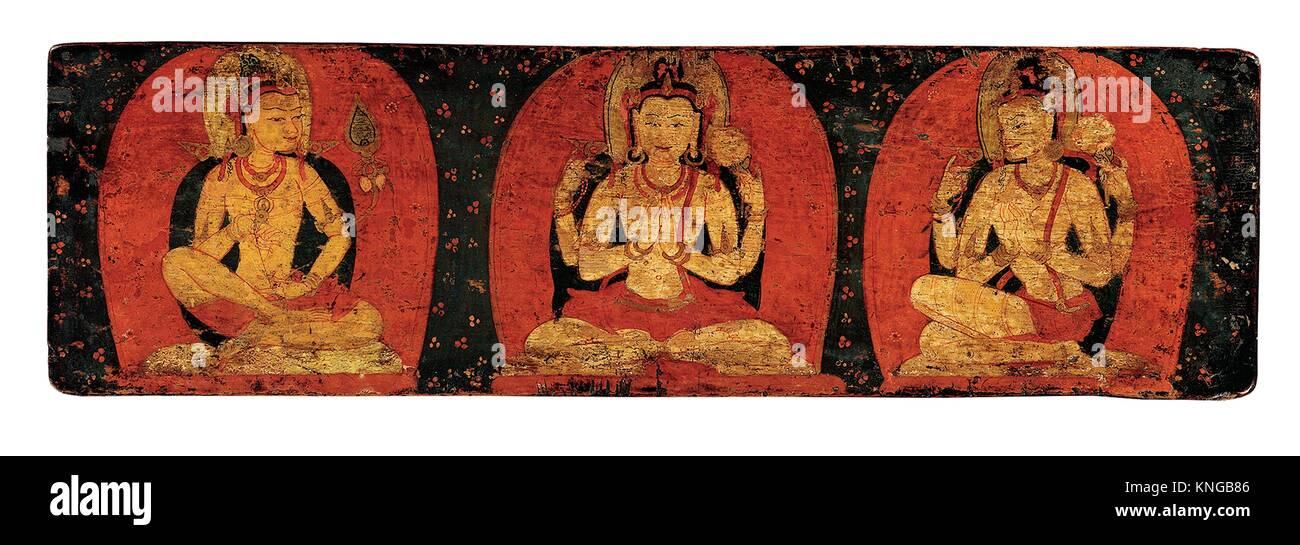 Pair of Manuscript Covers with Three Deities and Three Hierarchs. Date: ca. 12th century; Culture: Tibet; Medium: - Stock Image