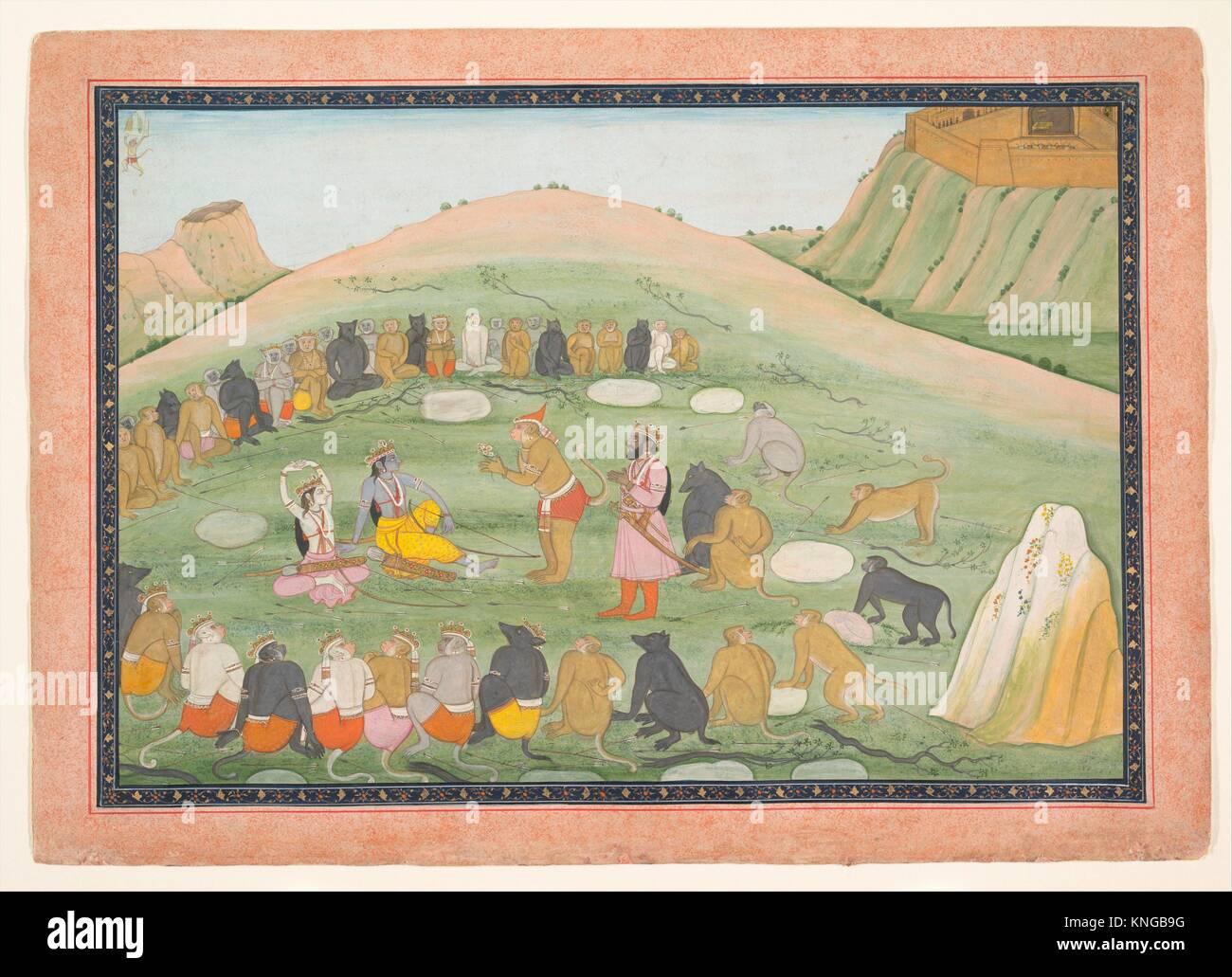 Hanuman Revives Rama and Lakshmana with Medicinal Herbs. Artist: Workshop active in the generation after Nainsukh - Stock Image