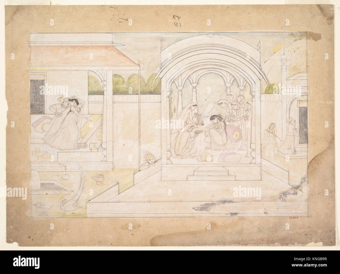 The Marital Bliss of Nala and Damayanti: Folio from a Nala-Damayanti Series. Artist: Attributed to Ranjha; Artist: - Stock Image