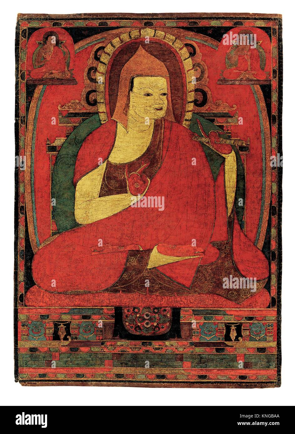 Portrait of the Indian Monk Atisha. Date: early to mid-12th century; Culture: Tibet; Medium: Distemper and gold - Stock Image