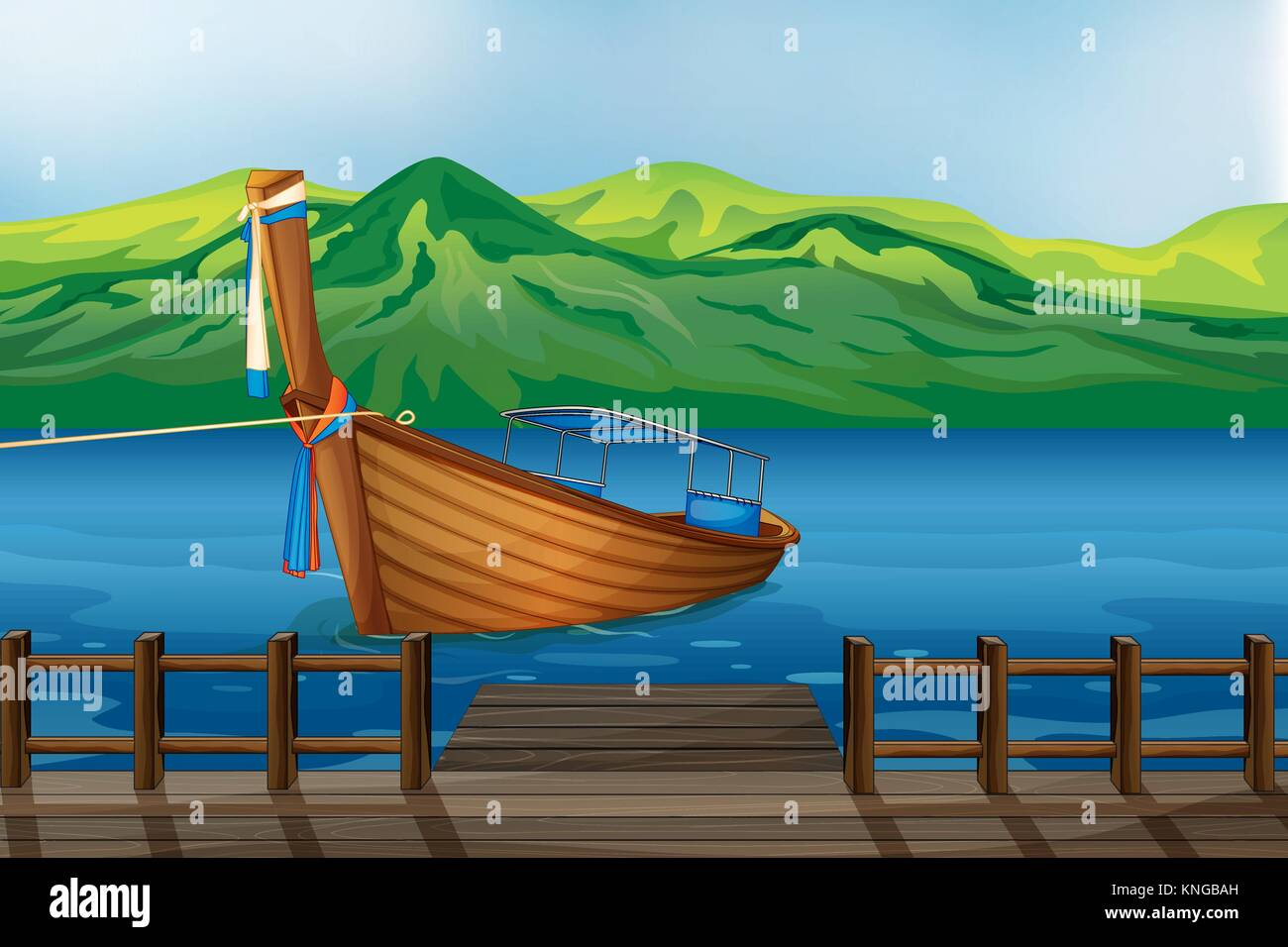 Illustration of a wooden boat tied at the seaport - Stock Vector