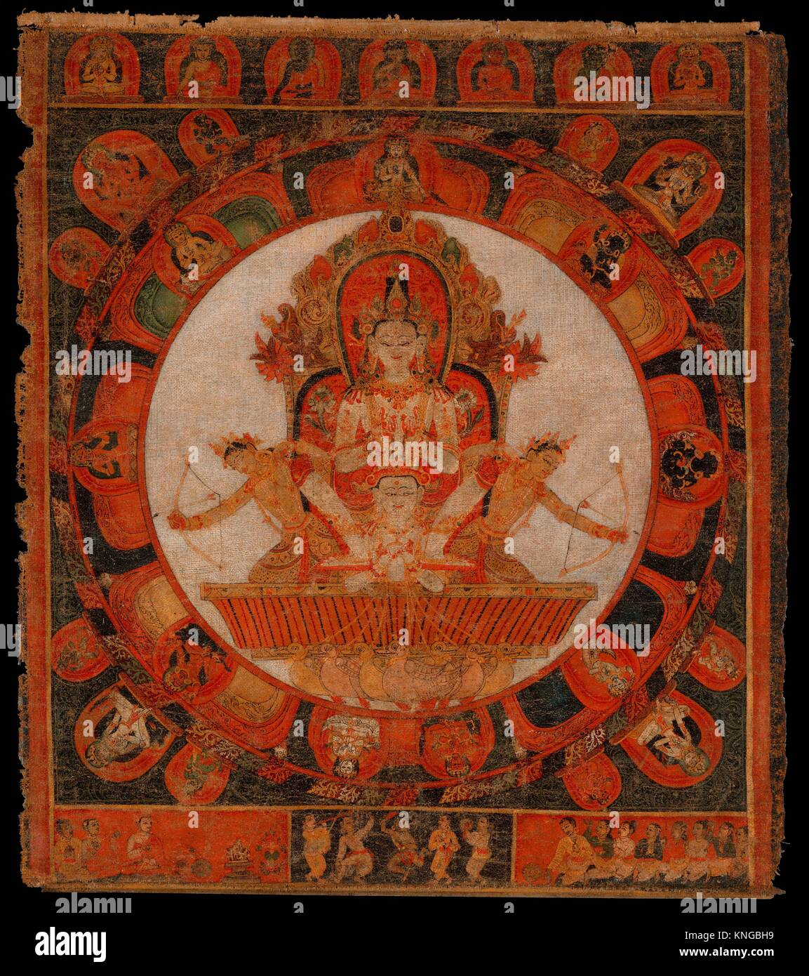 Mandala of Chandra, God of the Moon. Period: early Malla period; Date: late 14th-early 15th century; Culture: Nepal - Stock Image