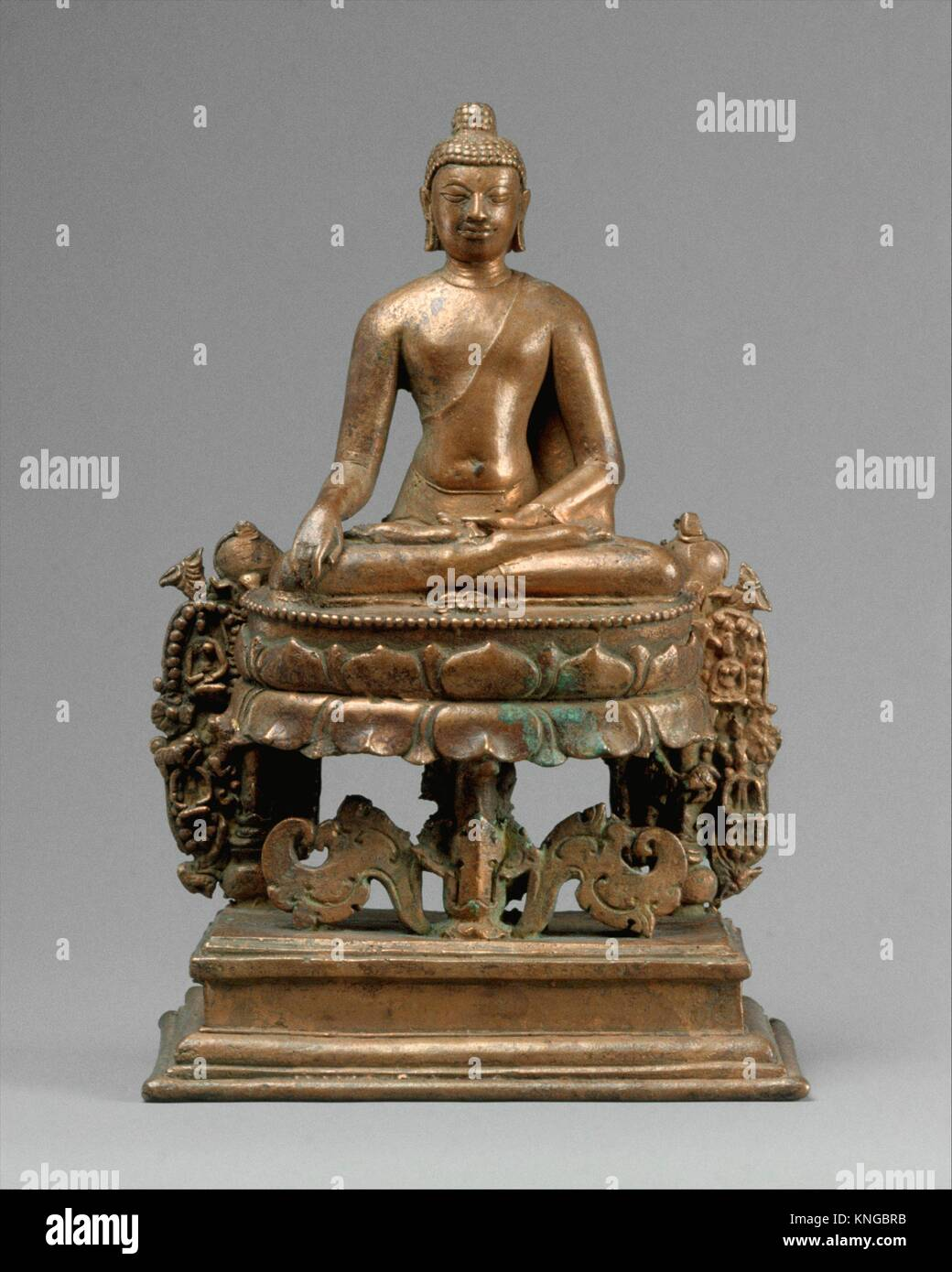 Lotus-Enthroned Buddha Akshobhya, the Transcendent Buddha. Period: Pala period; Date: 8th-early 9th century; Culture: - Stock Image