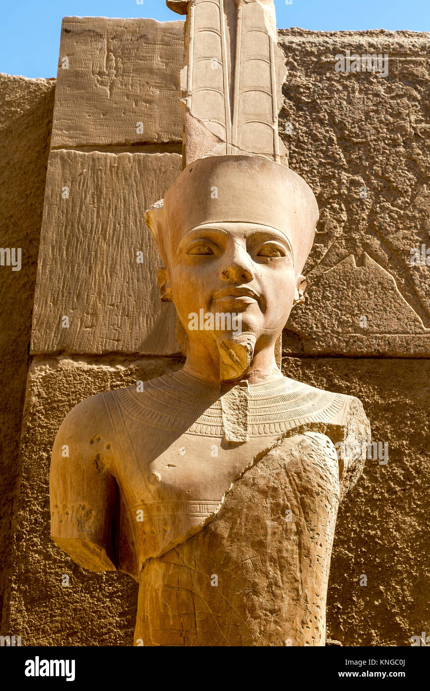 Statue of Amun Ra at Karnak Temple, Luxor, Egypt Stock Photo