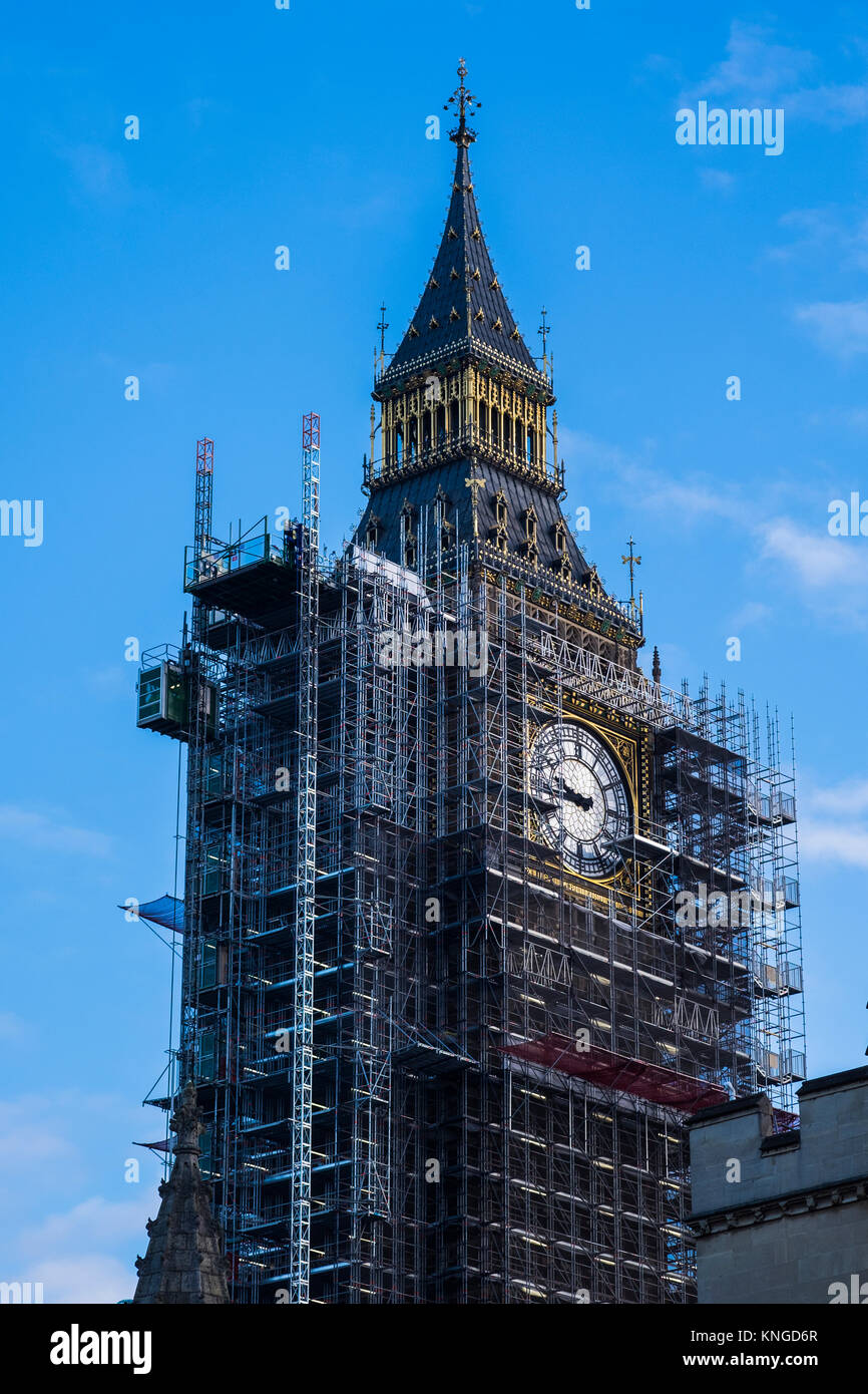 Elizabeth Tower covered in scaffolding during conservation works at the Palace of Westminster, London, England, - Stock Image