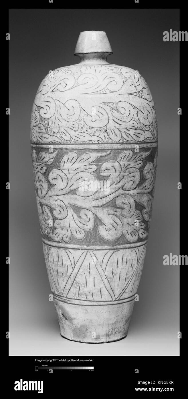Vase with Abstract Scroll Decoration. Period: Liao dynasty (907-1125); Date: 11th-12th century; Culture: China; - Stock Image