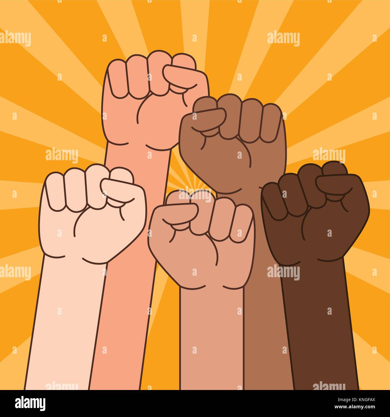 A vector illustration of Multi Ethnic People With Raised Fist - Stock Vector