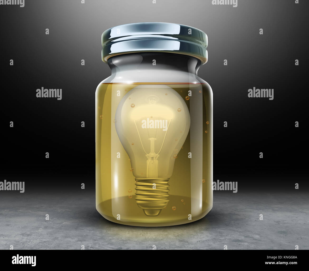 Preserve creativity concept and preserving intellectual property symbol as a light bulb inside a jar with preservative - Stock Image