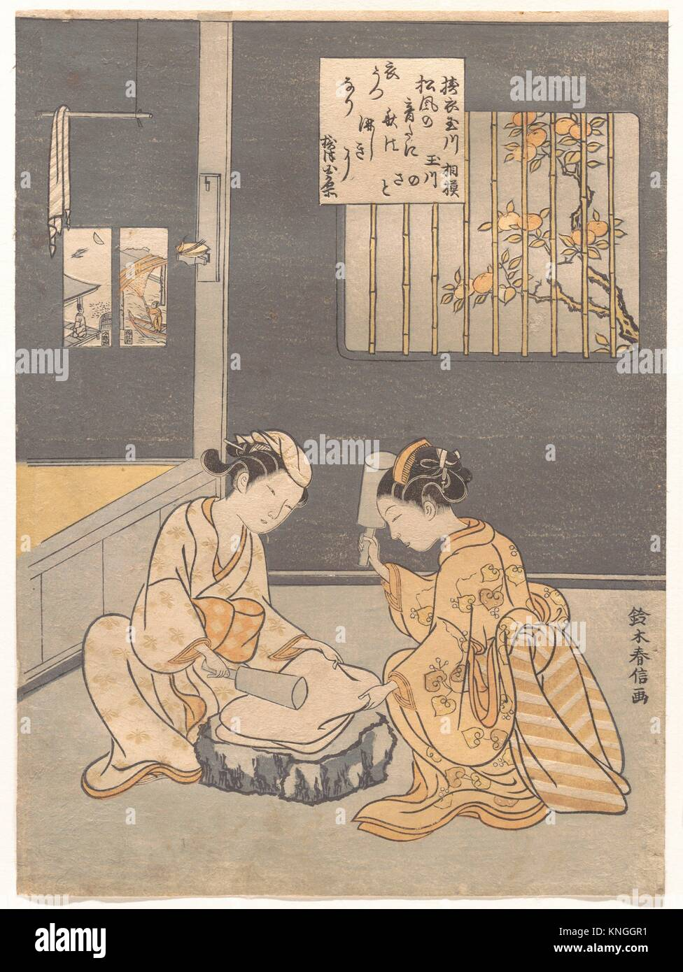 Koromo Uchi Tamagawa/Fulling Cloth at the Jewel River (Kinuta no Tamagawa). Artist: Suzuki Harunobu (Japanese, 1725 - Stock Image