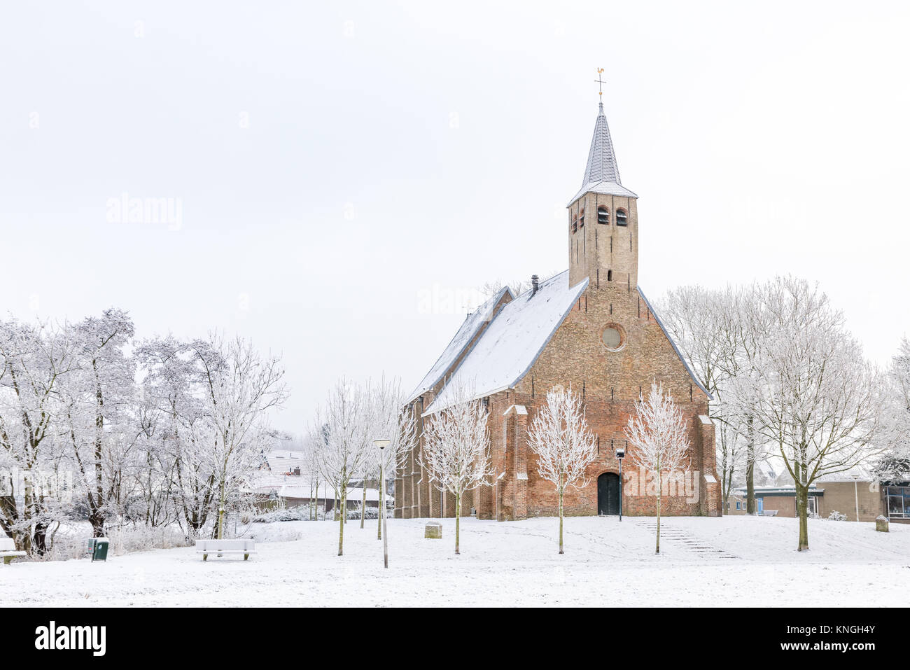 The historical Martinus church in Zwartewaal in the Netherlands during winter with snow and hoarfrosted trees. - Stock Image