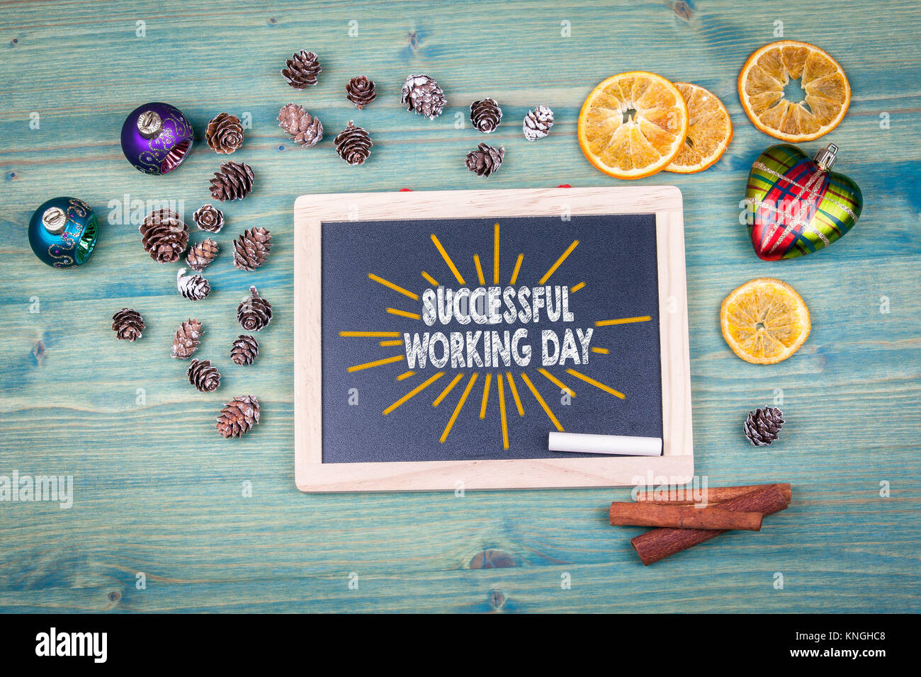 successful working day. christmas day. Chalk board Background - Stock Image