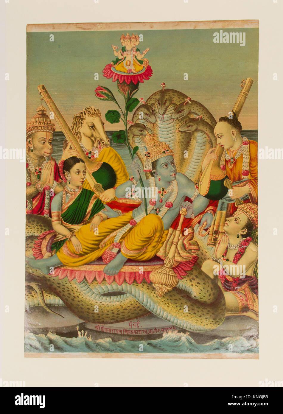 Shri Sheshanarayana, Vishnu Narayana on Shesha. Date: 1886; Culture: India; Medium: Chromolithographic print on - Stock Image