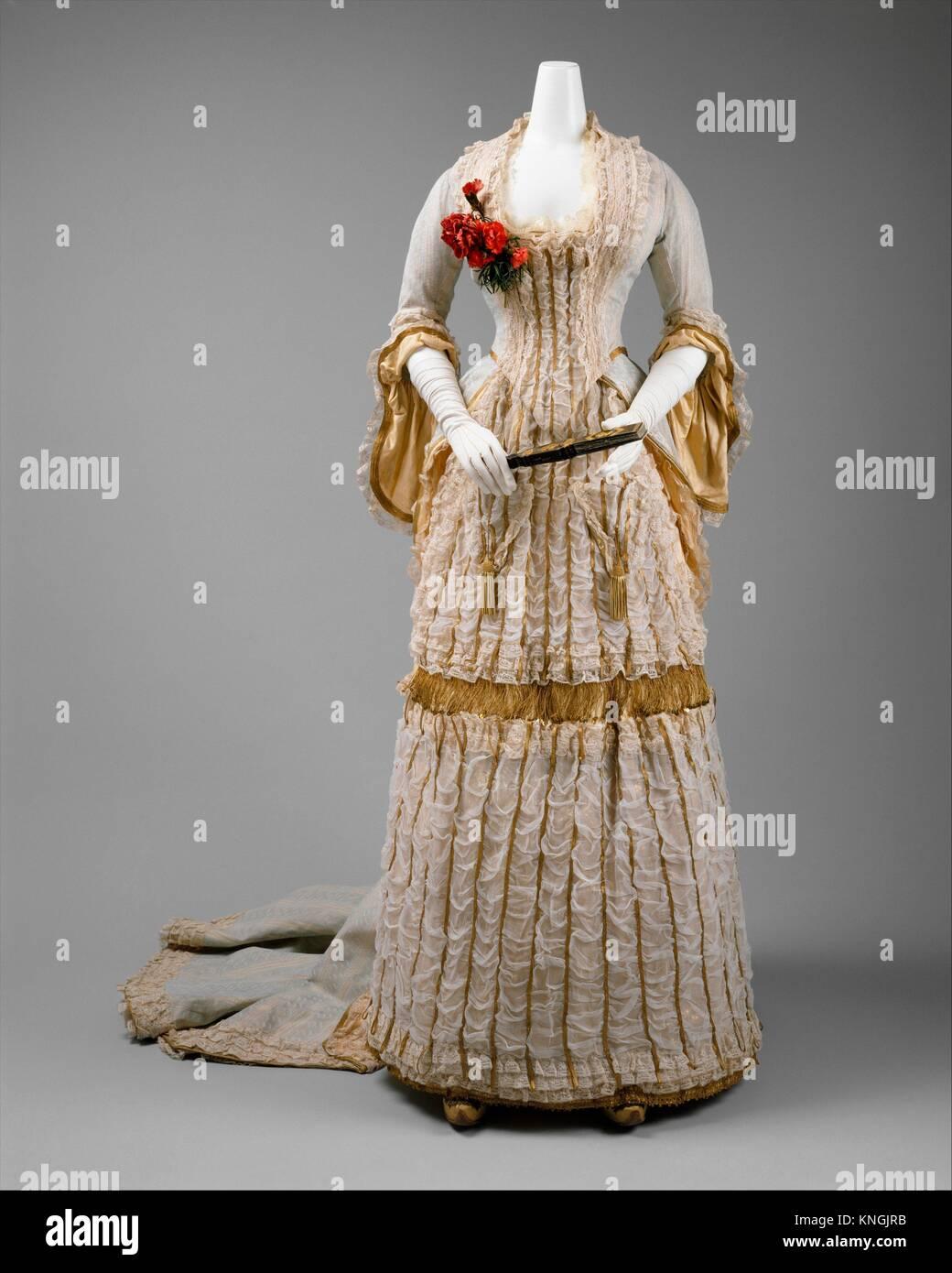 Ball gown. Date: ca. 1880; Culture: British; Medium: silk; Credit Line: Purchase, Irene Lewisohn Bequest, Isabel Stock Photo