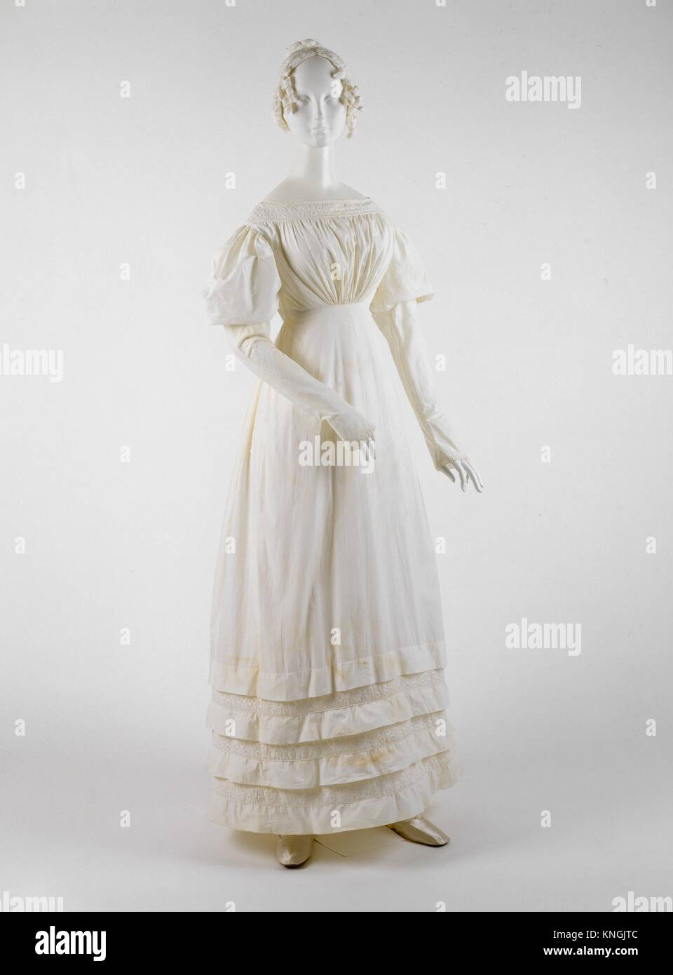 Dress. Date: 1830s; Culture: American or European; Medium: cotton; Credit Line: Gift of James R. Creel IV and Mr. - Stock Image