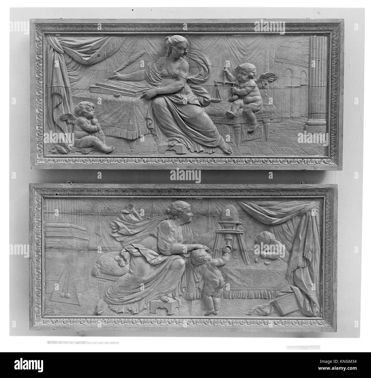 Pair of overdoor panels. Date: 18th century; Culture: French; Medium: Oak, polished; Dimensions: Overall (each): - Stock Image