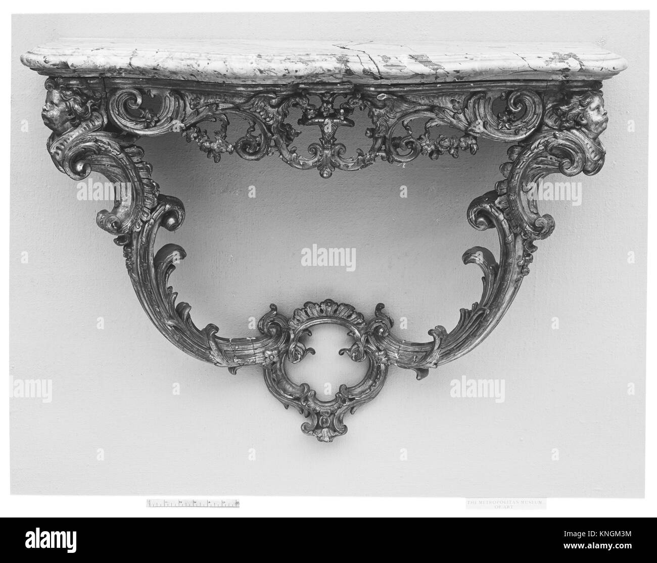 Console table. Date: 18th century; Culture: French; Medium: Carved and gilded oak; marble; Dimensions: Overall: - Stock Image