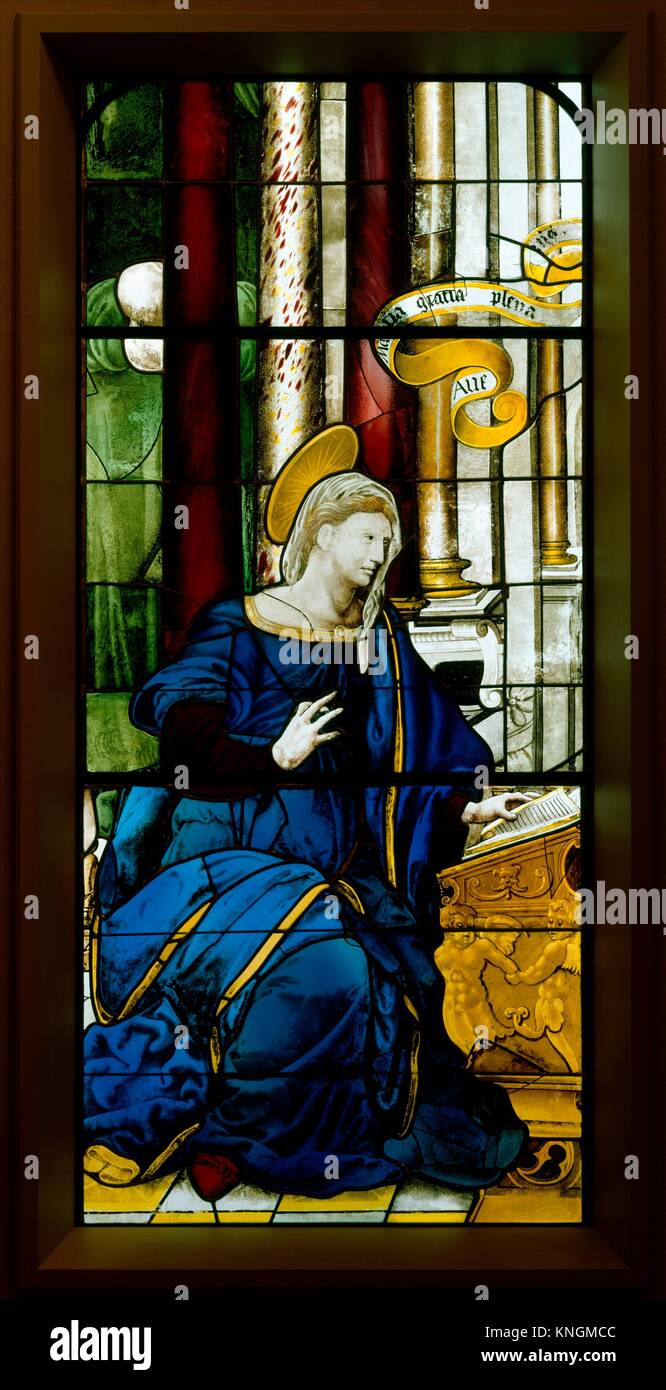 The Annunciate Virgin (one of a pair). Date: 1552; Culture: French, Paris; Medium: Colored, stained, and enameled Stock Photo