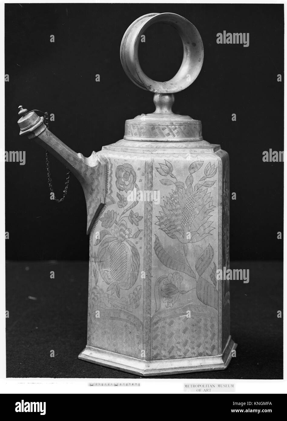 Milk or wine can. Maker: Johannes oder Hans Waeber (1713-1788); Date: 18th century; Culture: Swiss, Zurich; Medium: - Stock Image