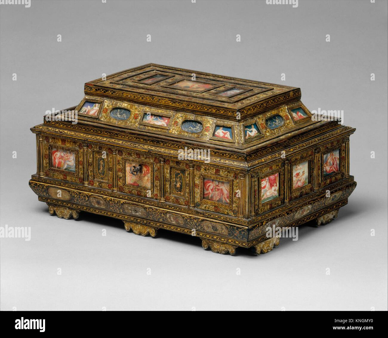 Casket (cofanetto or scrigno). Date: 1575-1600; Culture: Italian, Venice; Medium: Beechwood, ebony, painted and - Stock Image