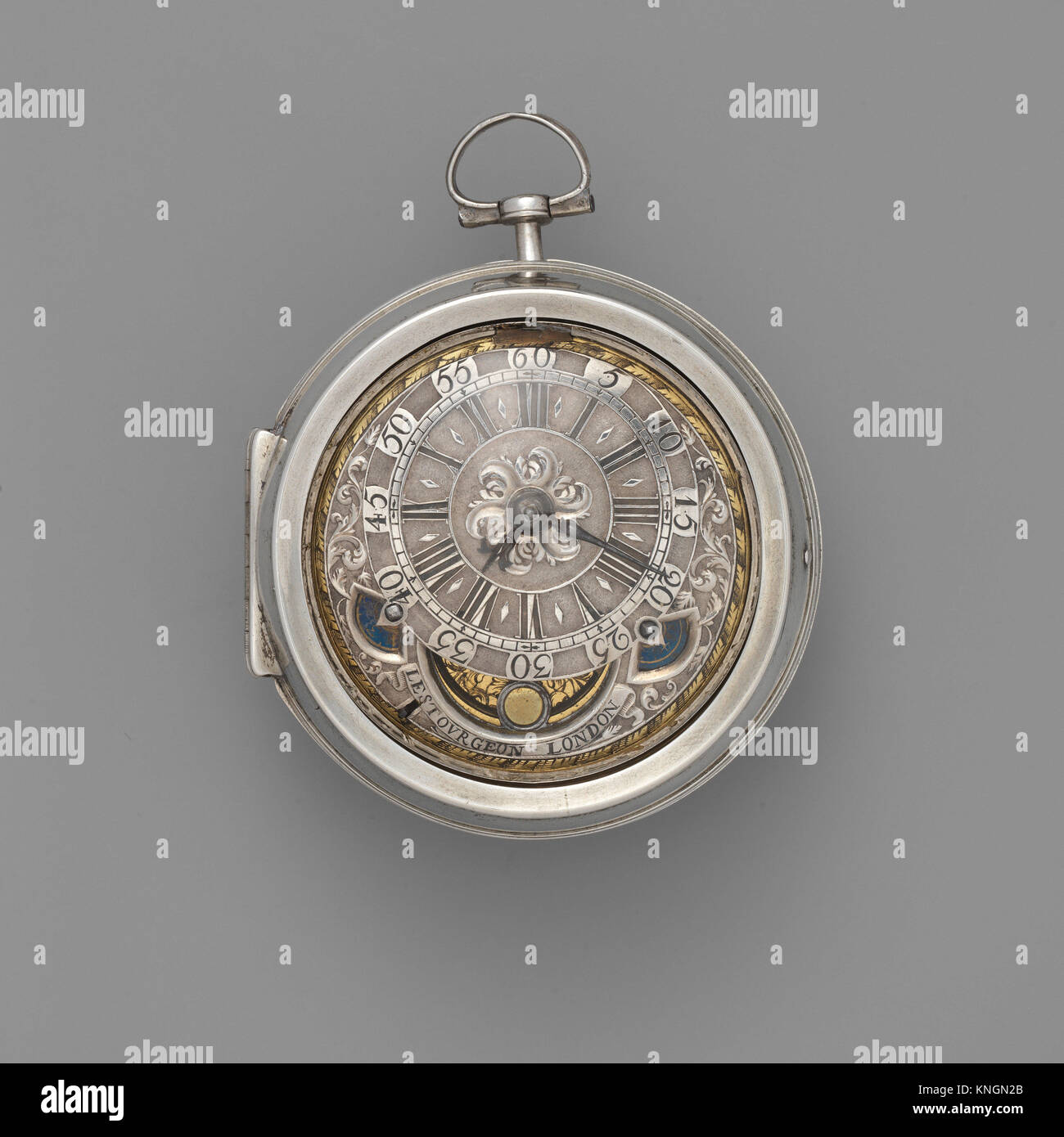 Watch. Maker: Watchmaker: David Lestourgeon (cc. 1698, died 1731); Maker: Case maker: Possibly by Hugh Richardson - Stock Image