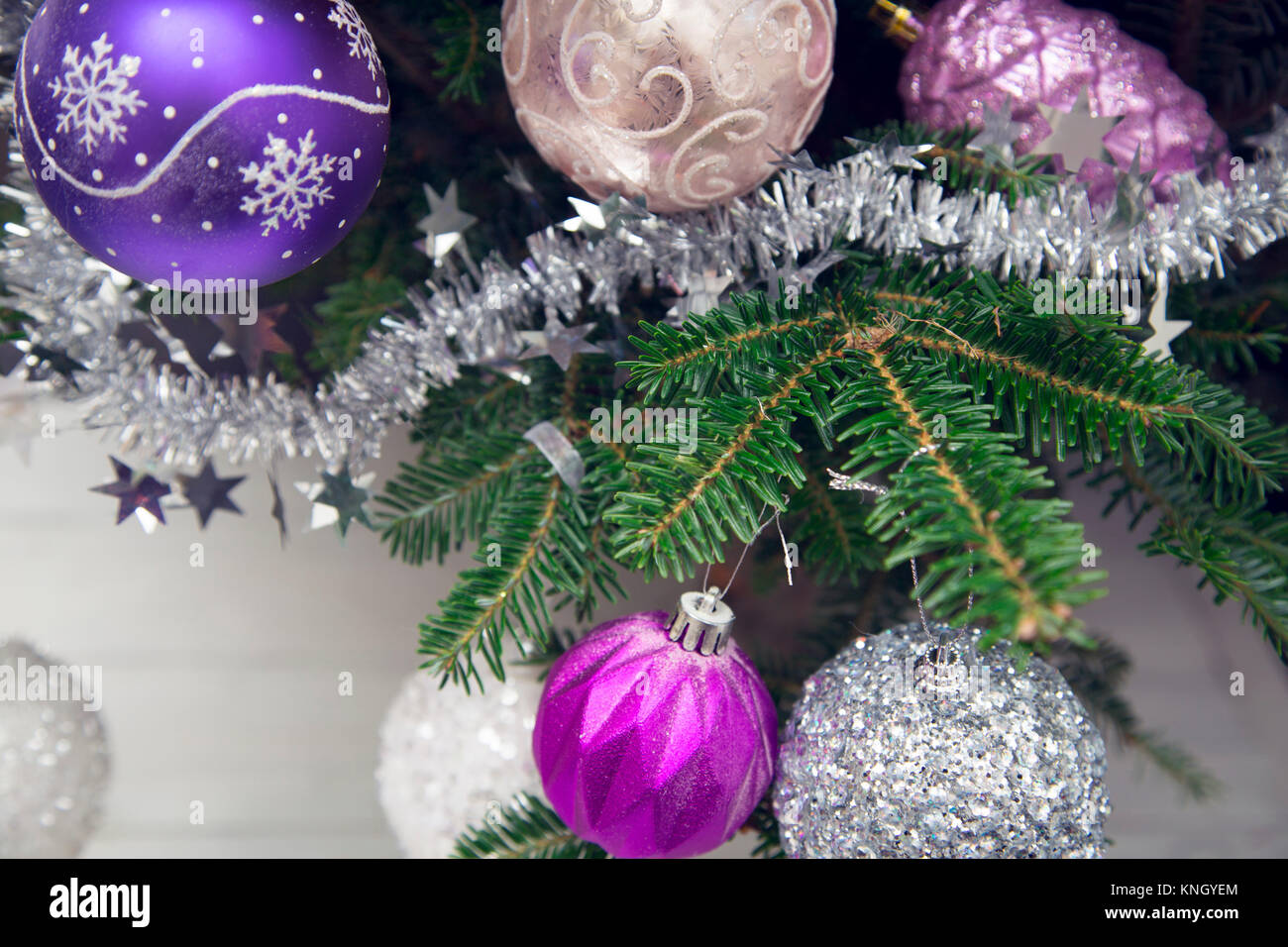 Purple Silver Christmas Baubles Gift Stock Photos & Purple Silver ...