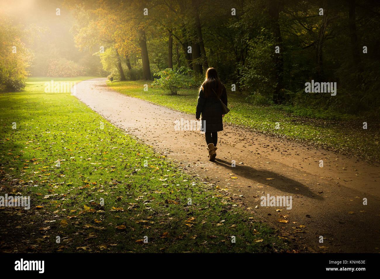 Walking around Tiergarten Volkspark in Berlin, Germany. - Stock Image