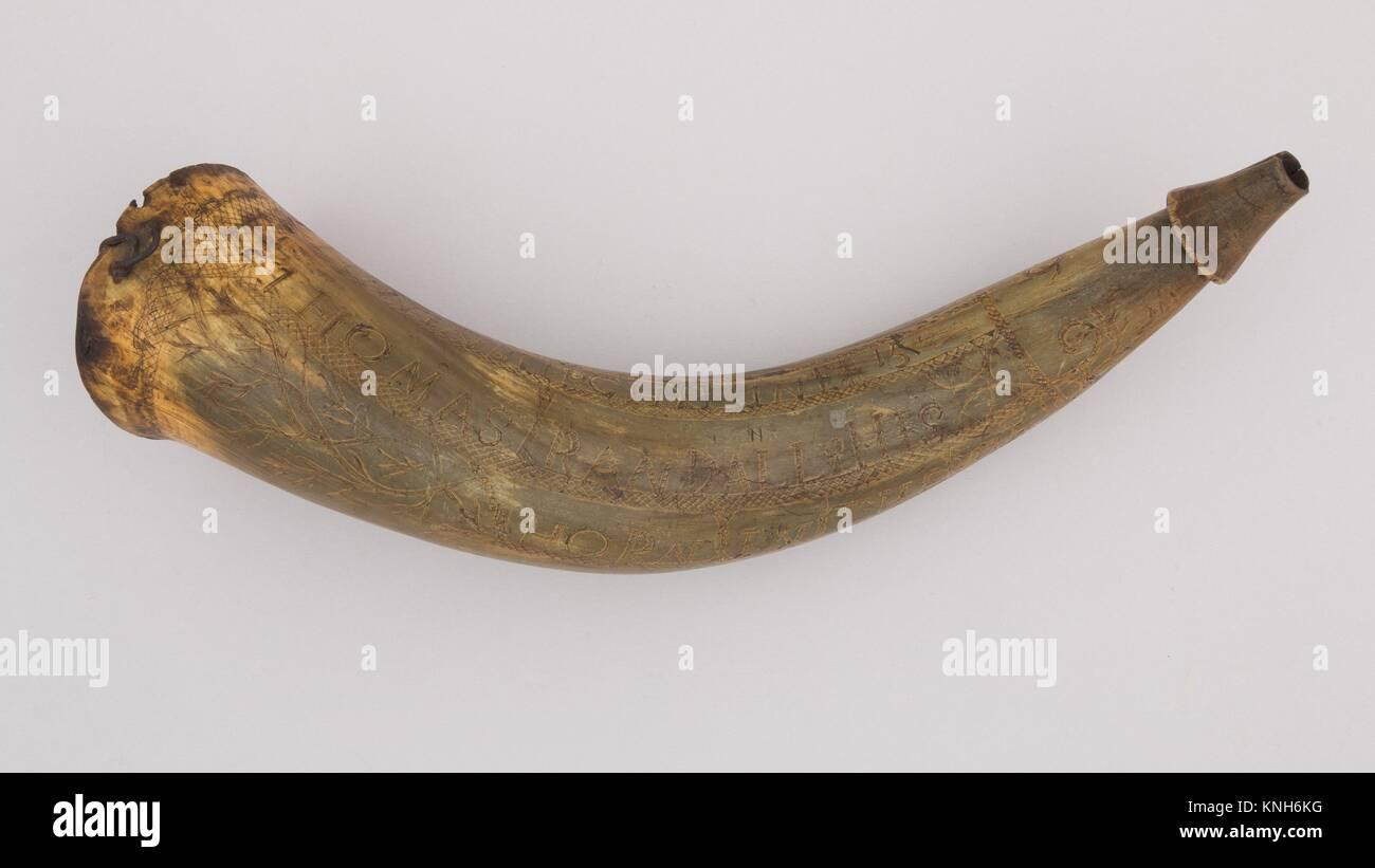 Powder Horn. Date: 1759; Geography: Lunenburg, Massachusetts; Culture: Colonial American, Lunenberg, Massachussetts; - Stock Image