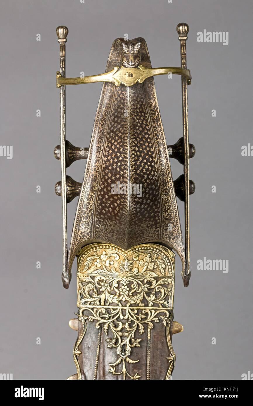 Dagger (Katar) with Sheath. Date: second half 16th century; Culture: Indian, Vijayanagara; Medium: Steel, silver, - Stock Image