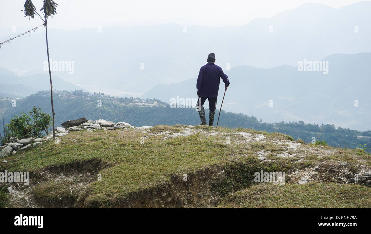 A man on the mountain - Stock Image