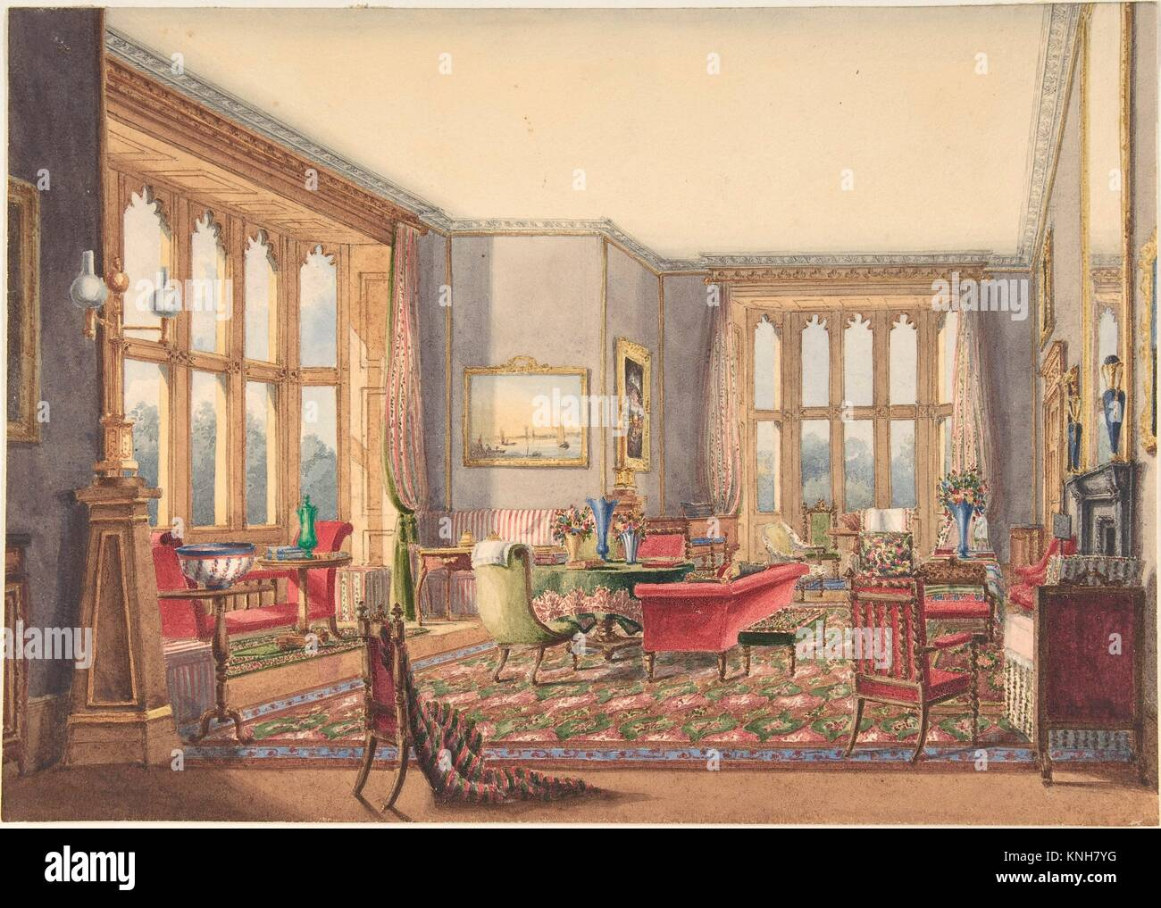 Drawing Room Guys Cliffe Warwickshire Artist Anonymous British 19th Century Date 1860 Medium Watercolor Dimensions Sheet 8 3 X 11 4