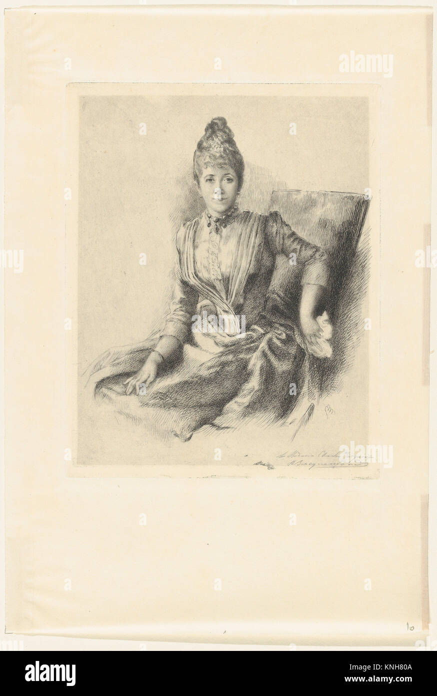 Portrait of Mlle Quivoron. Artist: Marie Bracquemond (French, 1841-1916); Date: 1860-1914; Medium: Etching; Dimensions: - Stock Image
