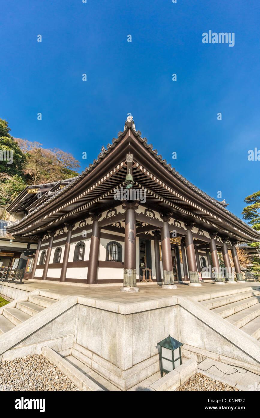 Kamakura, Kanagawa Prefecture, Japan - November 16, 2017 - Haze-dera temple or Hase-kannon temple. Kannon-Do hall - Stock Image