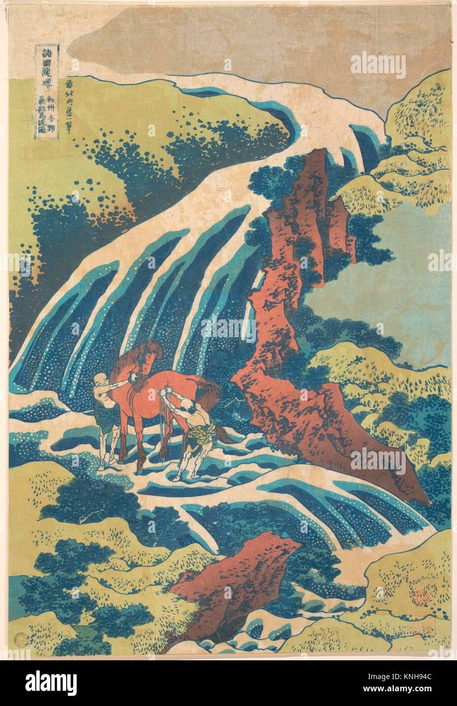 諸國瀧廻リ 和州吉野義経馬洗滝/The - Stock Image