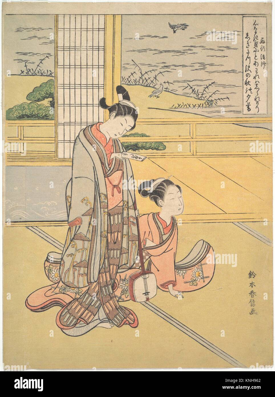 鈴木春信画 見立三夕 「西行法師」/A - Stock Image
