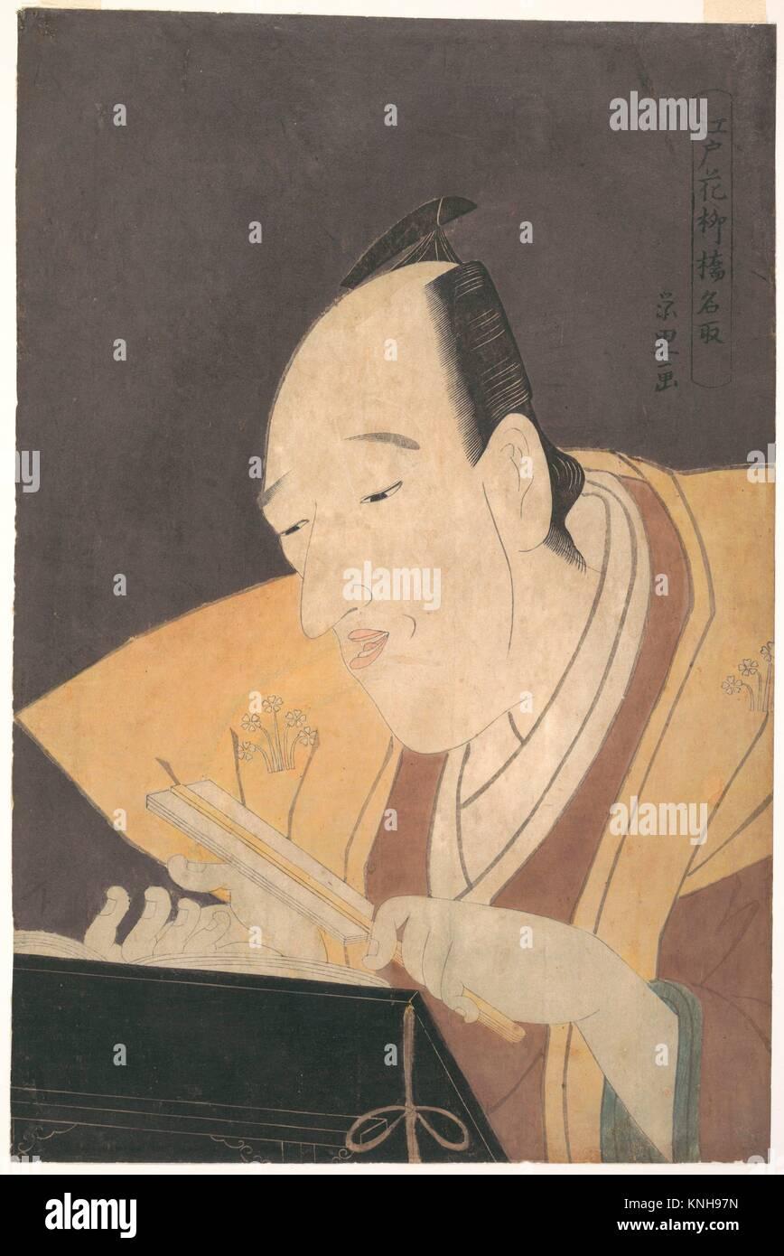 The Jo-ruri Narrator Tomimoto Buzendaya. Artist: Rekisentei Eiri (Japanese, active ca. 1789-1801); Period: Edo period - Stock Image