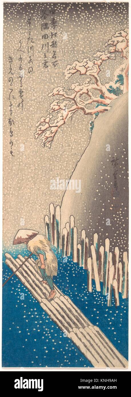 Sumidagawa no yuki/Sumida River in the Snow, from the series Famous Places in Edo in the Four Seasons. Artist: Utagawa - Stock Image